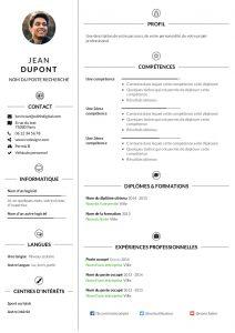Modèle d'un CV thématique réalisé sur CVDesignR